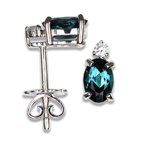 Oval Indicolite Blue Tourmaline Studs with Diamond Accent 14KW