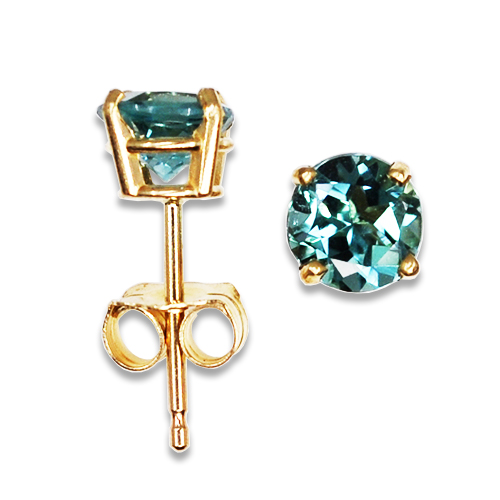 Ice Blue Tourmaline Stud Earrings 14KY