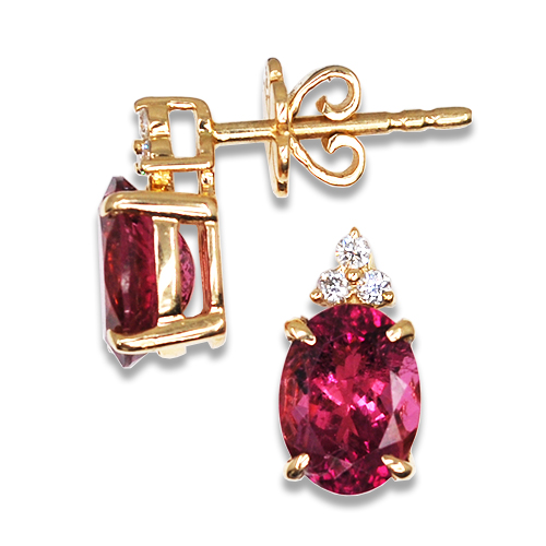 Oval Hot Pink Tourmaline Studs with Triple Diamond Accent 14KY