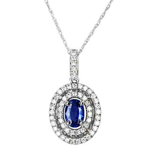Oval Sapphire and Double Diamond Halo Pendant set in 14KW