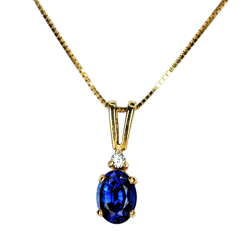 Oval Sapphire and Diamond Accent Pendant set in 14KY
