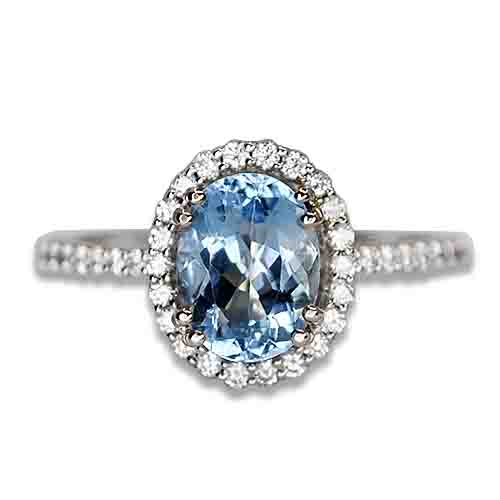 aqua diamond halo ring 14kw