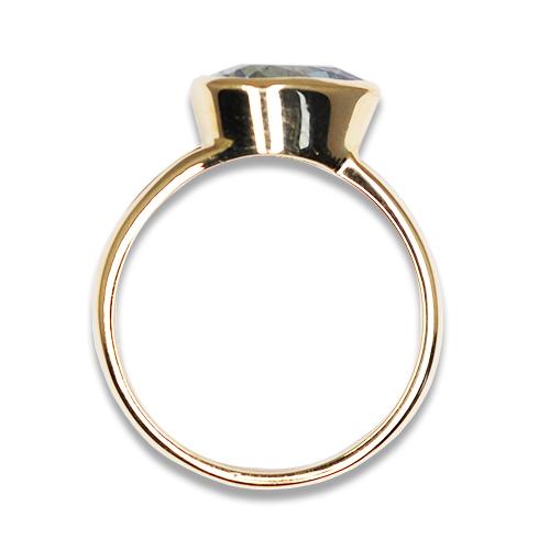 Pear Shape Aqua Bezel Ring 14KY profile