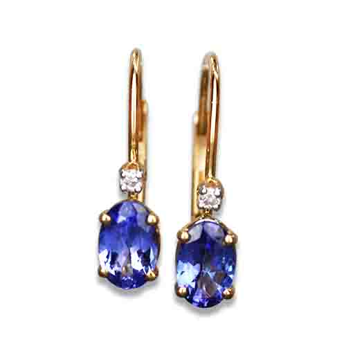 Oval Tanzanite and Diamond 14KY Dangle Earrings