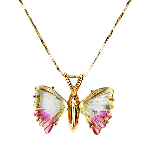 watermelon tourmaline butterfly pendant