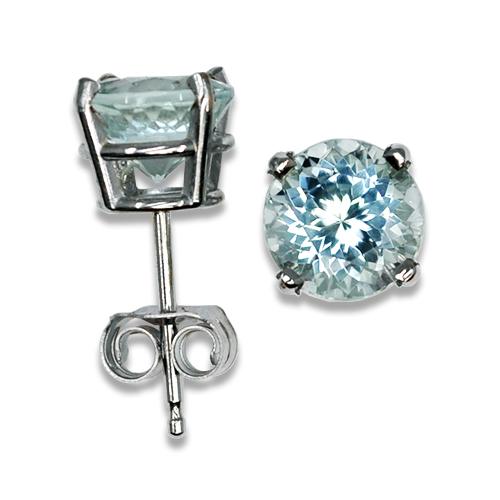 Light Mint Tourmaline Stud Earrings 14KW