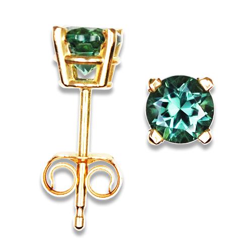 Blue Green Tourmaline Stud Earrings 14KY