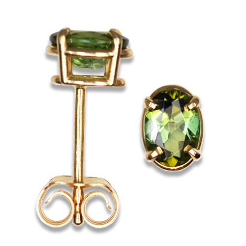 Oval Green Maine Tourmaline Stud Earrings 14KY